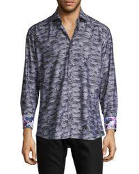 Bertigo - Camo-print Button-down Shirt - Lyst