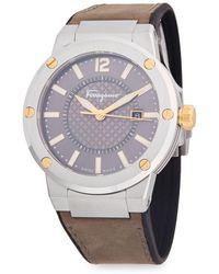 Ferragamo - Stainless Steel Analog Leather-strap Watch - Lyst