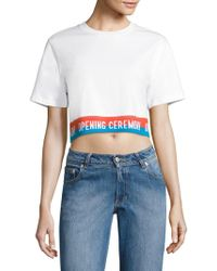 Opening Ceremony - Cody Striped Cropped Tee - Lyst