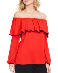 b471fb8bbdd80 Lyst - Vince Camuto Off-the-shoulder Tassel-detail Top in White