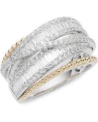 Effy - 14k White Gold, Yellow Gold & Baguette Diamond Ring - Lyst