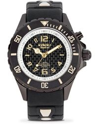 Kyboe - Power Black Silicone & Blackened Stainless Steel Strap Watch/40mm - Lyst