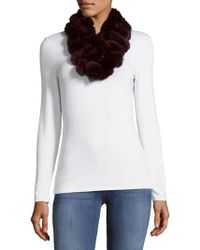 Surell - Rex Rabbit Fur Ball Loop Scarf - Lyst