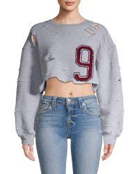 Lea & Viola - Distressed Cropped Sweatshirt - Lyst