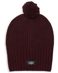 879a3f736dd UGG - Knit Wool Blend Pom-pom Beanie - Lyst