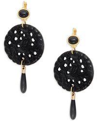 Kenneth Jay Lane - Goldtone Carved Circle Drop Earrings - Lyst