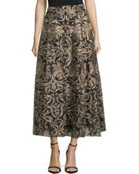 Notte by Marchesa - Embroidered Tea-length Skirt - Lyst