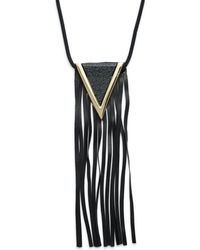 Natasha Couture - Faux Leather Long Tassel Pendant Necklace - Lyst
