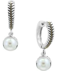 Effy - White Pearls And 18k Yellow Gold Drop Earrings - Lyst