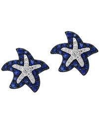Effy - 14k White Gold Sapphire And Diamond Starfish Stud Earrings - Lyst