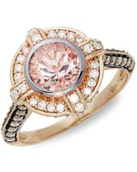 Le Vian - ® Peach Morganitetm And Chocolate & Vanilla Diamondstm 14k Strawberry Gold® Ring - Lyst