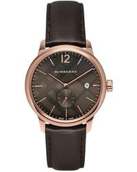 Burberry - Rose Gold & Chocolate Leather-strap Watch - Lyst