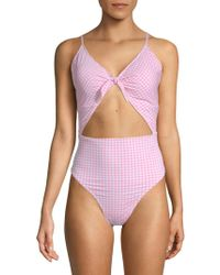 Juicy Couture - Cut Out One-piece Printed Swimsuit - Lyst
