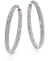 "Adriana Orsini - Pavà Silverplated Inside-outside Hoop Earrings/1.75"" - Lyst"
