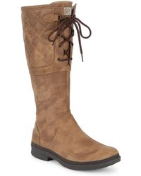 Ugg | Elsa Deco Quilt Waterproof Leather Boots | Lyst