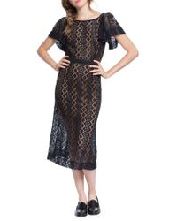 Plenty by Tracy Reese - Flounce-sleeve Lace Midi Dress - Lyst