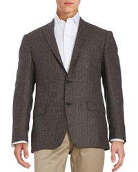 Calvin Klein - Herringbone Two-button Wool-blend Jacket - Lyst
