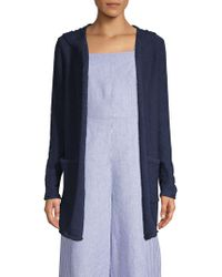 Pure Navy - Hooded Cotton Cardigan - Lyst