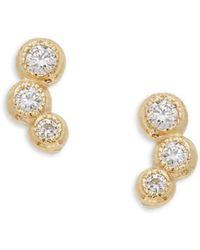 Saks Fifth Avenue - 14k Yellow Gold Diamond Trio Stud Earrings - Lyst