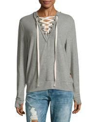 Peace Love World - Lace-up V-neck Jumper - Lyst