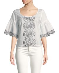 Plenty by Tracy Reese - Eyelet Embroidery Cotton Top - Lyst