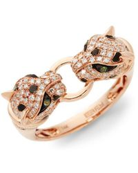 Effy - Diamond, Tsavorite & 14k Rose Gold Double Leopard Head Ring - Lyst
