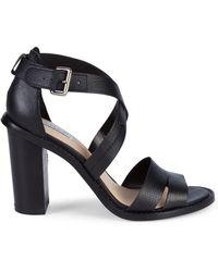 Tahari - Crisscross Leather Heeled Sandals - Lyst