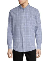 Report Collection - Textured Windowpane Button-down Shirt - Lyst