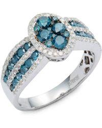 Effy - Diamond, Blue Diamond & 14k White Gold Ring - Lyst
