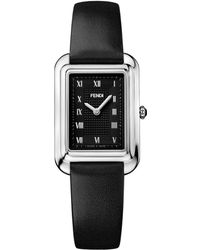 Fendi - Classico Rectangle Stainless Steel & Leather-strap Watch - Lyst
