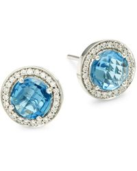 Hueb - 18k White Gold, Blue Topaz & Diamond Stud Earrings - Lyst