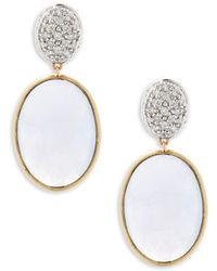 Marco Bicego - Hand-engraved Diamond, Chalcedony And 18k Yellow Gold Drop Earrings - Lyst
