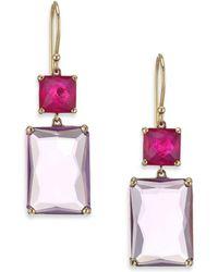 Ippolita - Rock Candy Gelato Ruby, Amethyst & 18k Yellow Gold Rectangle Double-drop Earrings - Lyst