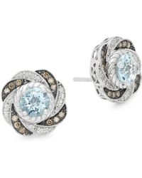 Le Vian - 14k White Gold , Chocolate Diamond, Aquamarine And 14k White Gold Swirl Stud Earrings - Lyst
