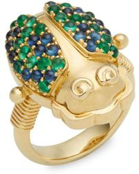 Temple St. Clair - Crystal And 18k Yellow Gold Scarab Ring - Lyst