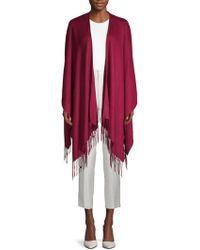 Portolano - Fringed Wool-blend Poncho - Lyst