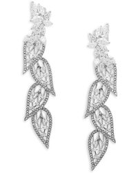 Adriana Orsini - Crystal Leaf Drop Earrings - Lyst