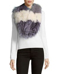 La Fiorentina - Striped Fox Fur Scarf - Lyst