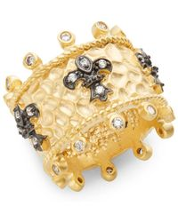 Freida Rothman - White Stone & 14k Yellow Gold Vermeil Fleur De Lis Ring - Lyst