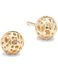 Saks Fifth Avenue - 14k Yellow Gold Stud Earrings - Lyst