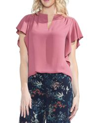 Vince Camuto - Sapphire Bloom Flutter-sleeve Blouse - Lyst