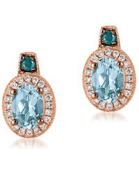 Le Vian - Exotics Diamond, Aquamarine & 14k Rose Gold Stud Earrings - Lyst