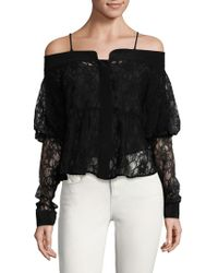 Ronny Kobo - Silk Lace Off-the-shoulder Top - Lyst