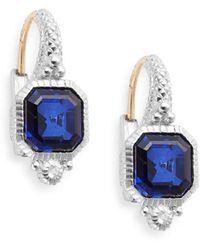 Judith Ripka - Estate Blue Corundum, White Sapphire & Sterling Silver Drop Earrings - Lyst
