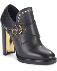 Ferragamo - Leather Gancio Buckle Monk Strap Booties - Lyst