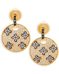 Freida Rothman - Pavé Crystal And Sterling Silver Clover Disc Drop Earrings - Lyst