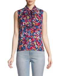 Love Moschino - Floral Tie Neck Blouse - Lyst