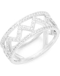 Danni - 14k White Gold Diamond Zig Zag Ring - Lyst