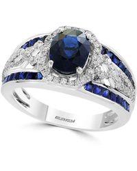 Effy - Royale Bleu Diamond, Natural Sapphire And 14k White Gold Ring - Lyst