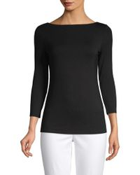 Saks Fifth Avenue - Iconic Fit Three-quarter Sleeve Boatneck Tee - Lyst